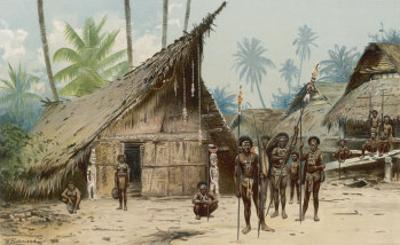 Papua New Guinea: Village Scene in the North-East of the Island by Wilhelm Kuhnert