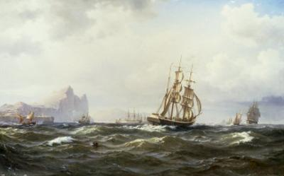 Shipping in the Straits of Gibraltar, 1875 by Wilhelm Melbye