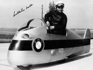 Wilhelm Noll on a 500cc Bmw Motorcycle, 1955