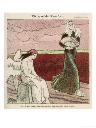 """The """"Spanish"""" Flu Epidemic Overtakes the Angel of Peace"""