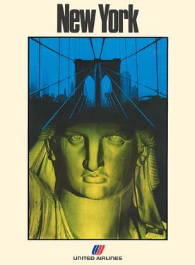 New York - United Air Lines - Statue of Liberty by Will Hopkins