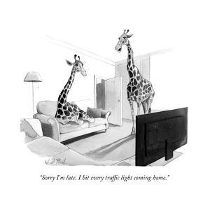 """""""Sorry I'm late. I hit every traffic light coming home."""" - New Yorker Cartoon by Will McPhail"""
