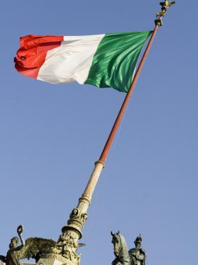 Flag Flying in Front of Neo Classical Ii Vittoriano by Will Salter