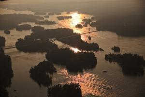 Aerial View of the Thousand Islands International Bridge At Sunset by Will Van Overbeek