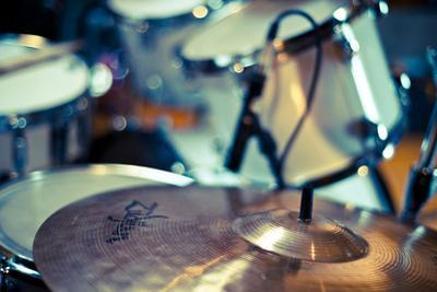 Close Up of Drum Kit with Cymbal and Tom Toms by Will Wilkinson