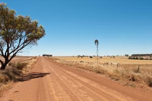 Hot Dusty Road across Flat Landscape with Water Vane by Will Wilkinson