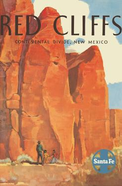 Red Cliffs - Continental Divide, New Mexico - Santa Fe Railroad Company by Willard Elms