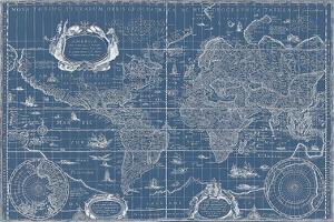 Blueprint World Map, 1630 by Willem Blaeu
