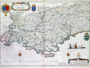 Map of 'Provincia' or Provence, Now Part of Southern France, 1638 by Willem Janszoon Blaeu