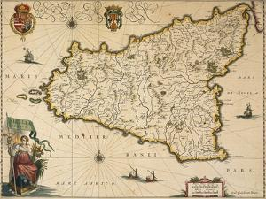 Map of Sicily by Willem Janszoon Blaeu