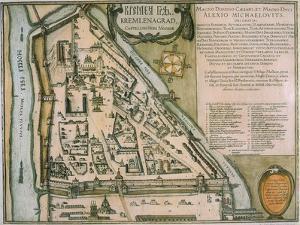 Map of the Moscow Kremlin (Castellum Urbis Moskva), Russia, 1597 by Willem Janszoon Blaeu