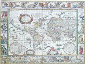 "World Map, from ""Le Theatre Du Monde"" or ""Nouvel Atlas,"" 1645 by Willem Janszoon Blaeu"