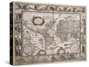 "World Map, from ""Le Theatre Du Monde"" or ""Nouvel Atlas,"" 1645 by Willem Janszoon Blaeu"