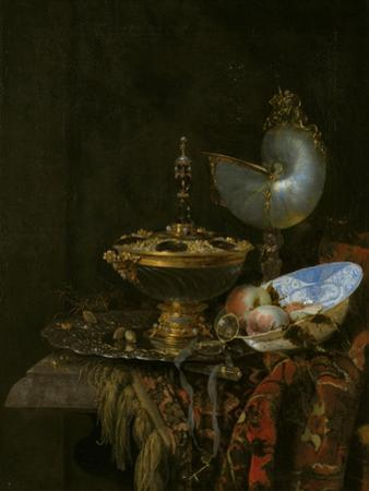 Pronk Still Life with Holbein Bowl, Nautilus Cup, Glass Goblet and Fruit Dish, 1678