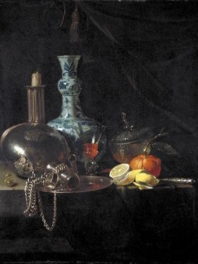 Still Life with a Pilgrim Flask, Candlestick, Porcelain Vase and Fruit, 17th Century by Willem Kalf