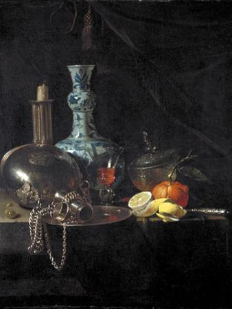 Still Life with a Pilgrim Flask, Candlestick, Porcelain Vase and Fruit, 17th Century