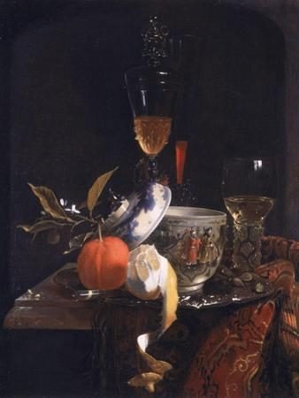 Still Life with Chinese Sugar Jar, Glass Goblet and Fruit