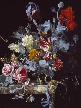 A Vase of Flowers with a Watch by Willem van Aelst