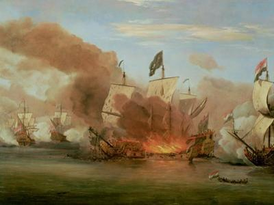 "The Burning of ""The Royal James"" at the Battle of Sole Bank, 6th June 1672"