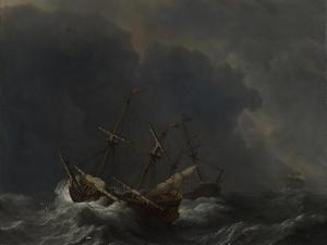 Three Ships in a Gale, 1673 by Willem Van De Velde The Younger