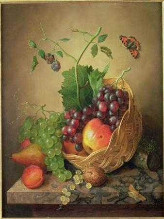 A Basket of Grapes and Apples on a Marble Ledge