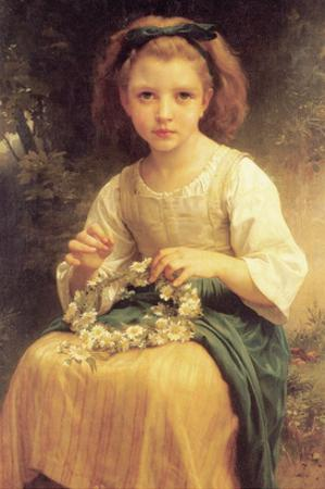 A Young Girl Braids a Garland Crown of Flowers by William Adolphe Bouguereau