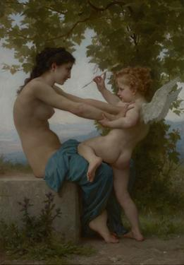 A Young Girl Defending Herself Against Eros, 1880 by William Adolphe Bouguereau