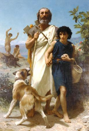 William-Adolphe Bouguereau Homer and his Guide 1874 Art Print Poster