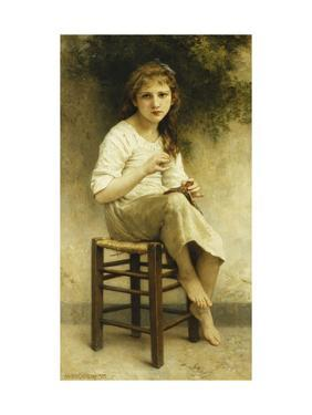 Idle Thoughts (Little Girl Sitting Embroidering) by William Adolphe Bouguereau