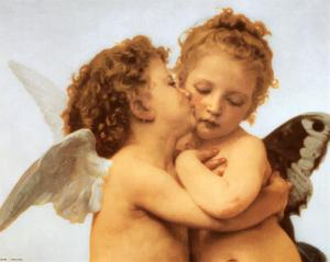 The First Kiss, c.1873 (detail) by William Adolphe Bouguereau