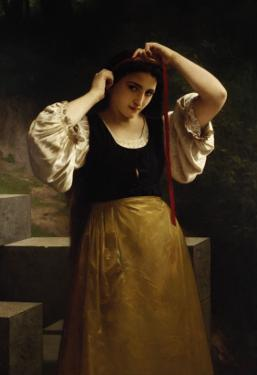 The Red Ribbon, 1869 by William Adolphe Bouguereau
