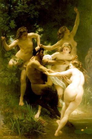William-Adolphe Bouguereau Nymphs and Satyr