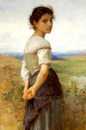 William-Adolphe Bouguereau The Young Shepherdess Plastic Sign by William Adolphe Bouguereau