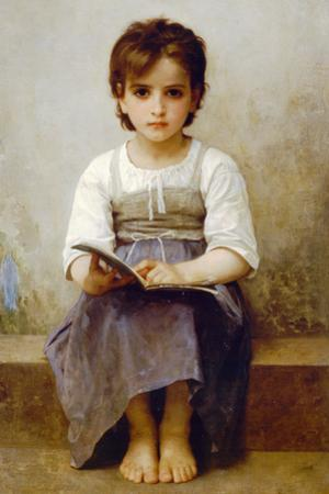 William-Adolphe Bouguereau The Difficult Lesson Plastic Sign by William-Adolphe Bougurereau