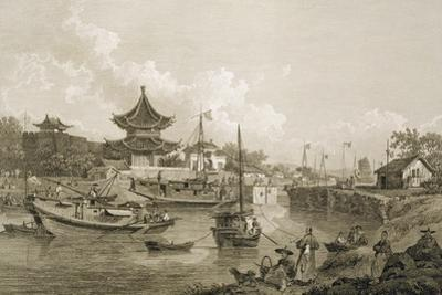 Chinese Barges of the Embassy Passing Through a Sluice of the Grand Canal by William Alexander