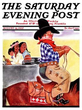 """Modern Indians and Dude,"" Saturday Evening Post Cover, August 14, 1937 by William Bailey"