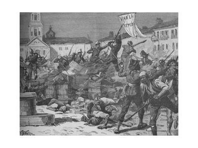 'Street Fighting in Malaga', c1890