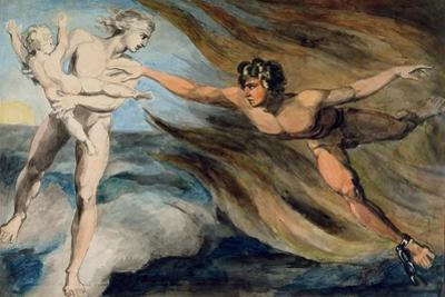 Good and Evil Angels Struggling for the Possession of a Child, C.1793-94 by William Blake