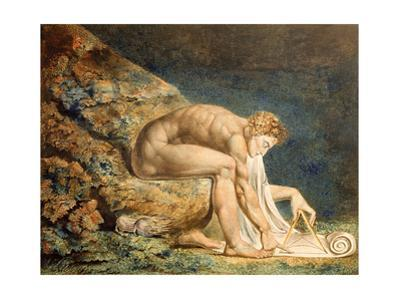 Isaac Newton, 1795 Coloured engraving with watercolour and ink added, 46 x 60 cm. Cat. N 5058. by William Blake