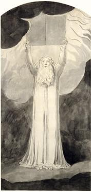 Moses Receiving the Law, C.1780 (Brush and Black Ink over Graphite on Paper) by William Blake