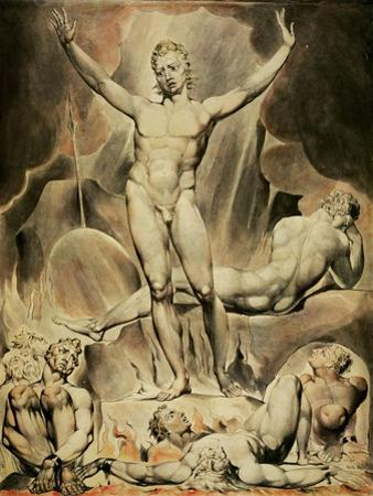 Satan rousing the rebellious angels. Paper. by William Blake