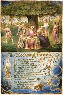 The Echoing Green: Plate 6 from 'Songs of Innocence and of Experience' C.1815-26 by William Blake