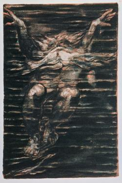 The First Book of Urizen; Bearded Man Swimming Through Water, 1794 by William Blake