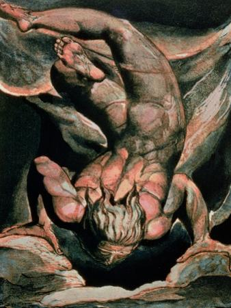 The First Book of Urizen, Man Floating Upside Down, 1794 (Colour-Printed Relief Etching) by William Blake