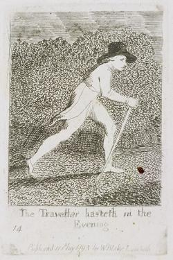 The Traveller Hasteth in the Evening, Plate 15 from 'For Children. the Gates of Paradise', 1793 by William Blake