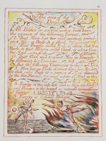 The Voice of the Devil, Illustration and Text from 'The Marriage of Heaven and Hell', C.1790-3 by William Blake