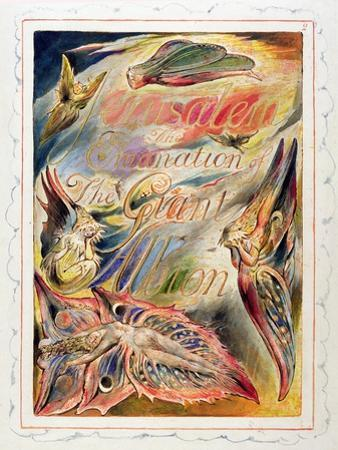 Title Page for 'Jerusalem: the Emanation of the Giant Albion, 1804-20 by William Blake