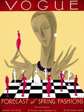 Vogue Cover - January 1929 by William Bolin