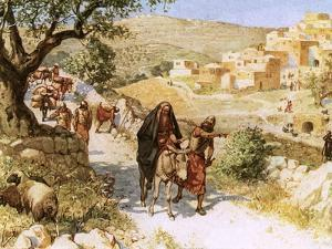 David, Fleeing from Jerusalem, Is Cursed by Shimei by William Brassey Hole
