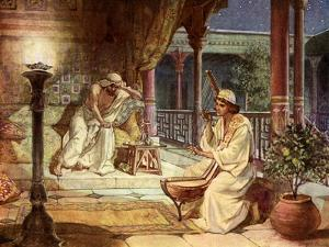 David playing on the harp for Saul, - Bible by William Brassey Hole